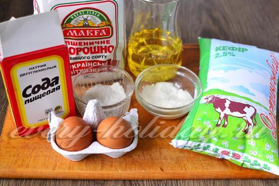 Ингредиенты для приготовления оладий на кефире