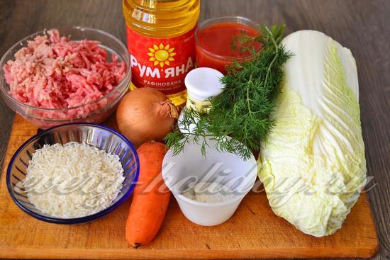 Ингредиенты для приготовления голубцов из пекинской капусты