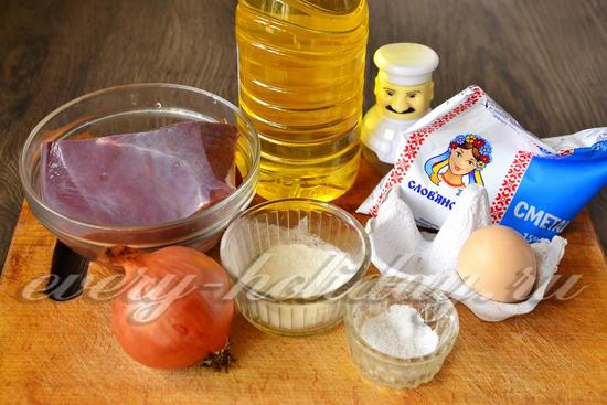 Ингредиенты для приготовления печеночных оладий