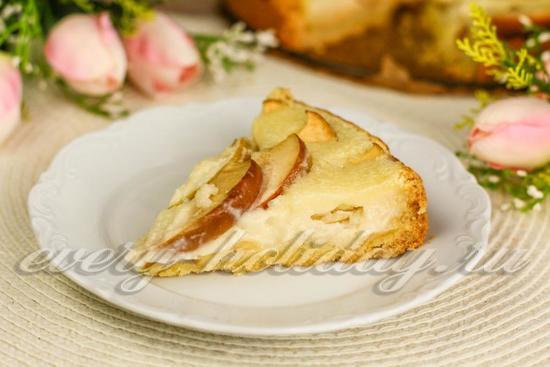 Яблочный пирог со сметанной заливкой - очень вкусный