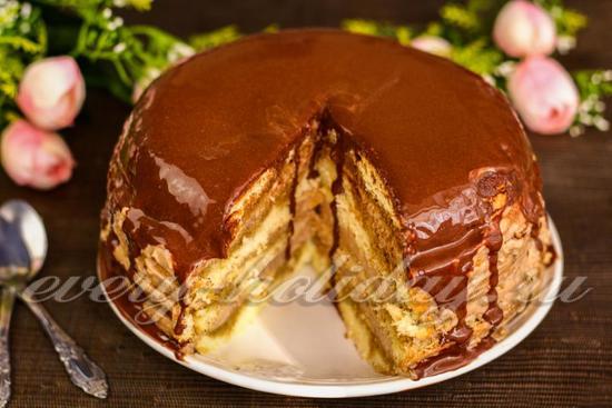 Торт бисквитный: рецепт с фото пошагово в домашних условиях