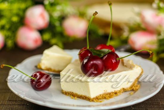 Чизкейк без выпечки с творогом и печеньем: рецепт с фото