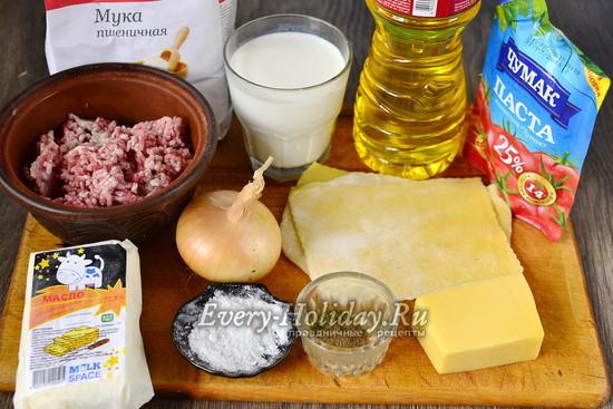 Ингредиенты для приготовления лазаньи