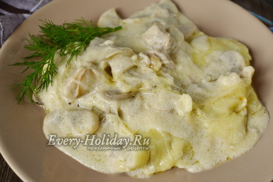 Грибной жульен рецепт со сметаной в сковороде