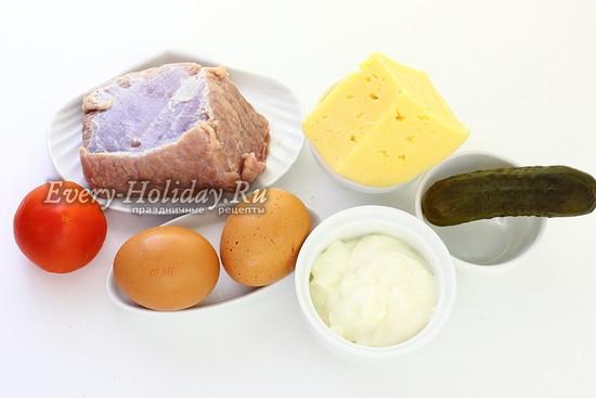 Ингредиенты для приготовления салата Косточка