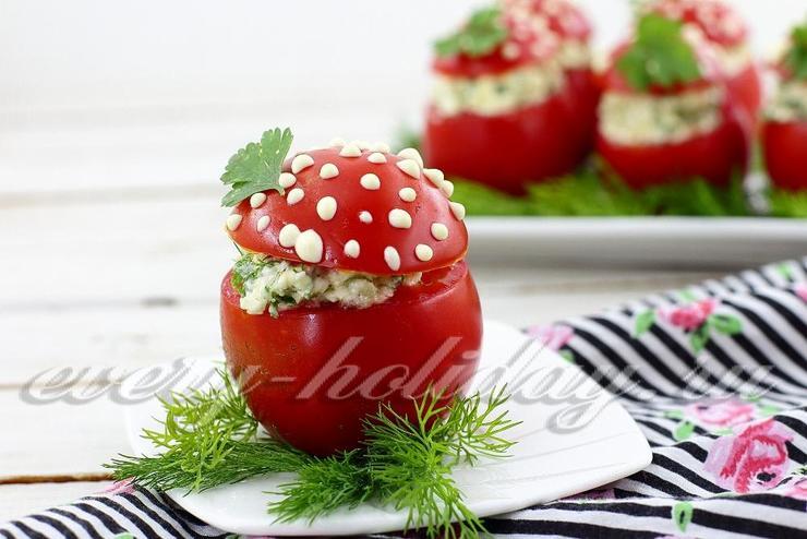 Закуска из помидоров «Мухоморы»