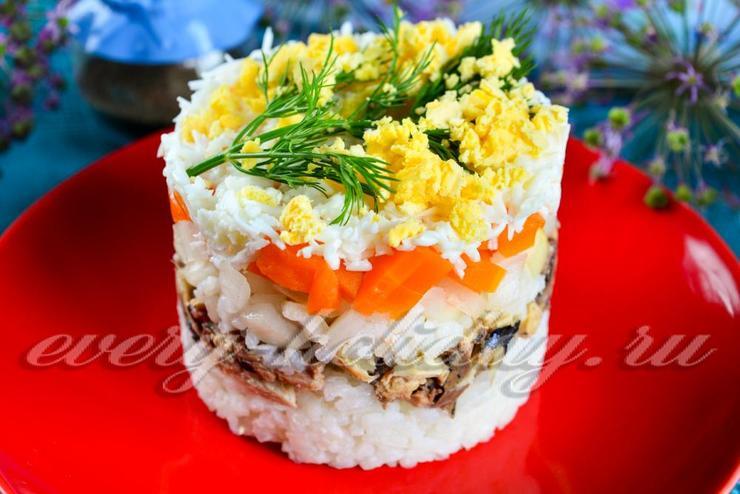 Салат мимоза рецепт с классический с рисом