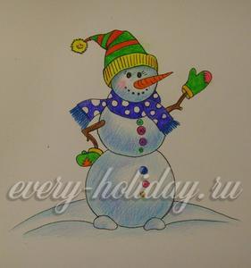 Как красиво нарисовать веселого снеговика цветными карандашами