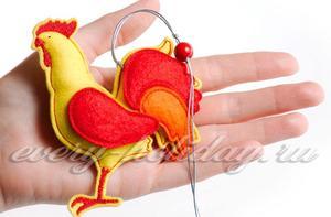 Петух, символ 2017 года своими руками из фетра
