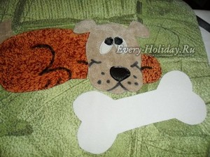 подушка с собакой из фетра