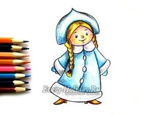 Как нарисовать снегурочку поэтапно карандашом легко и красиво