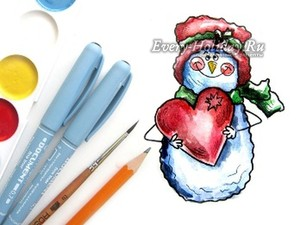 снеговик акварельными красками