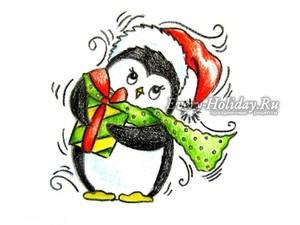 нарисованный пингвин цветными карандашами