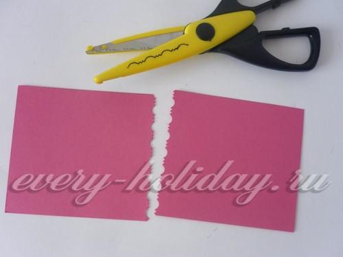 Фигурными ножницаи срезаем картон