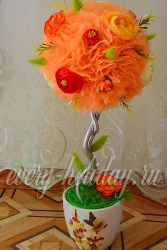 Топиарий из органзы с цветочками