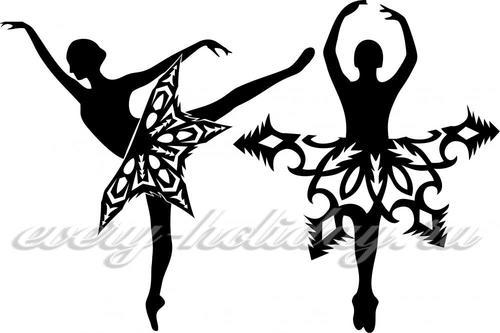 Вытынанка балеринка из бумаги распечатать