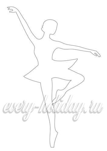 Шаблон для вырезания балерины из бумаги