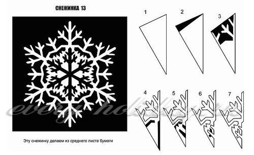 Шаблон для вырезания снежинки из бумаги
