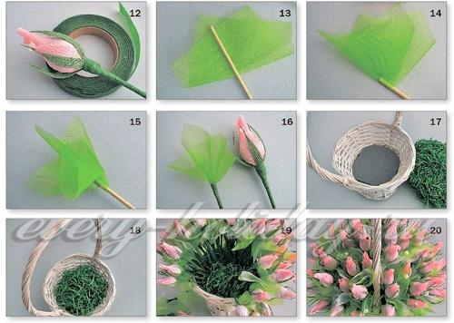 Цветы из конфет и бумаги