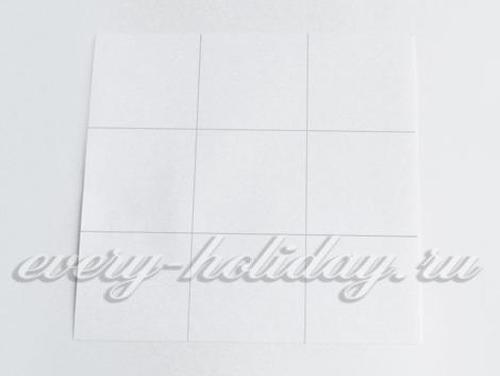 Квадратный белый лист нужно разделить на 9 равных частей