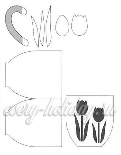 Распечатать шаблон, взять лист белой бумаги, цветной картон, клей, кисточку и ножницы