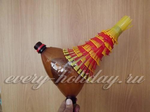 петух из пластиковых бутылок своими руками инструкция