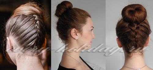 французская коса наоборот с пучком