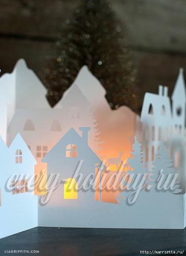 Светящийся домик из бумаги