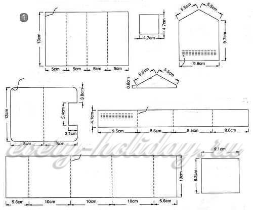 схемы для распечатки бумажных домиков 1