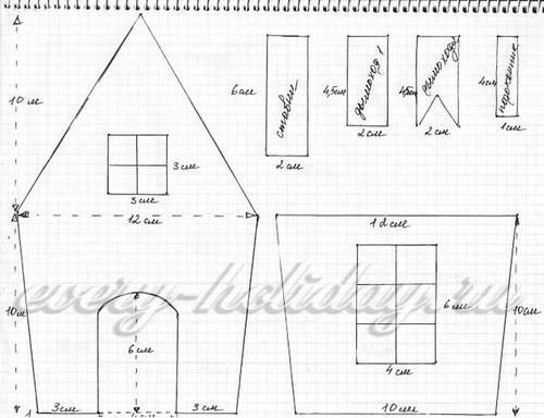 схемы для распечатки бумажных домиков 2