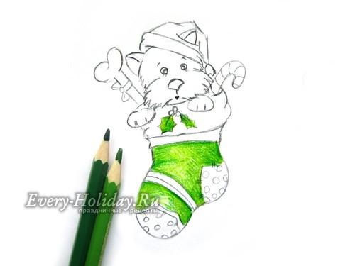 раскрашиваем рисунок зеленым карандашом