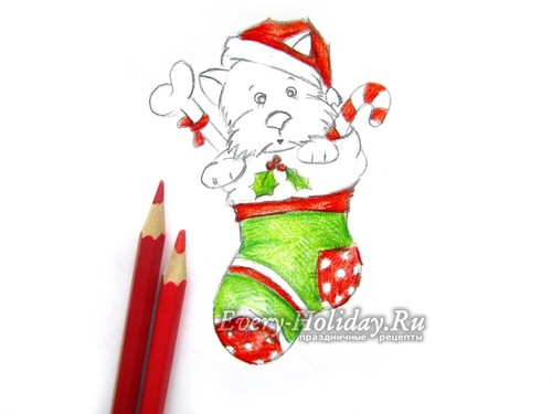 раскрашиваем латки на носке, новогоднюю шапку, бантик на косточке и некоторые отрезки на трости