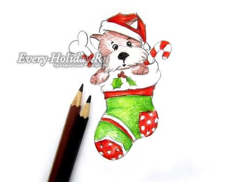 Коричневыми карандашами создаем цвет шерсти этого милого щенка