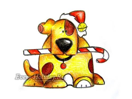 Как нарисовать новогодний рисунок с собакой