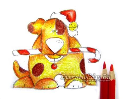 Берем красные карандаши, которыми можно создать необходимый цвет новогодней шапке, ошейнику и новогодней трости
