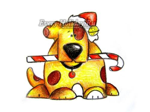 Как нарисовать собаку на Новый год 2018 поэтапно, мастер-класс
