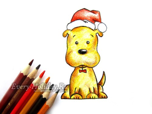 Как нарисовать щенка на новый год легко и поэтапно в красной шапке