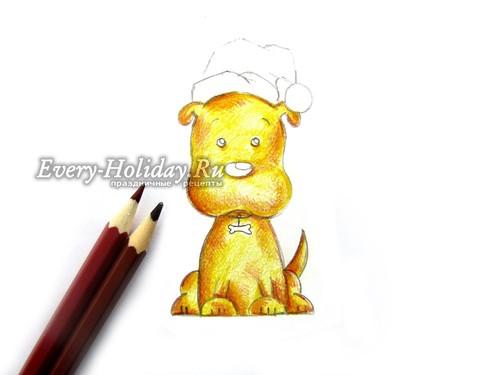 еперь берем коричневые карандаши, чтобы получить объем в рисунке