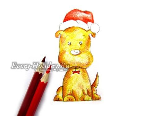 Красными карандашами придаем цвет украшению на ошейнике и основной части зимней шапки