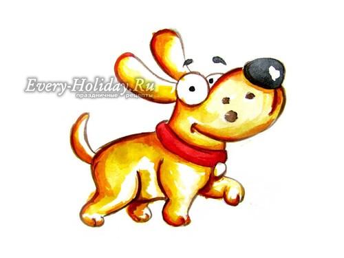 рисунок собаки на новый год