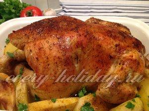 Курица запеченная целиком с картофелем