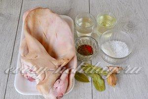 Ингредиенты для приготовления маринованных свиных ушек