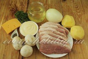 Ингредиенты для приготовления картошки с мясом и грибами