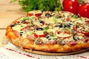 рецепт пиццы из дрожжевого теста и ветчины