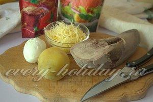 Ингредиенты для приготовления корзинок из лаваша с языком