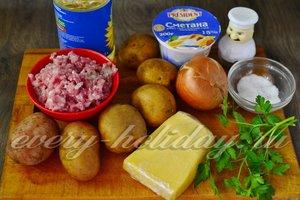 Ингредиенты для приготовления фаршированного картофеля