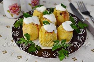 рецепт картофеля фаршированный фаршем запеченный в духовке с фото
