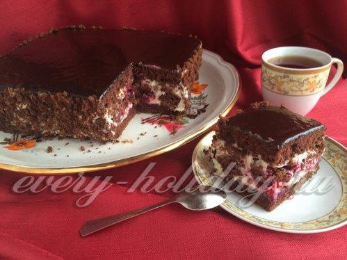 шоколадный торт сзамороженными вишнями рецепт с фото-хв1