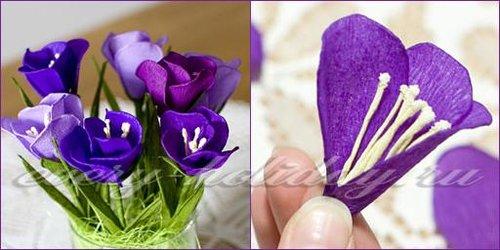 Цветы из конфет и гофрированной бумаги своими руками: мастер класс