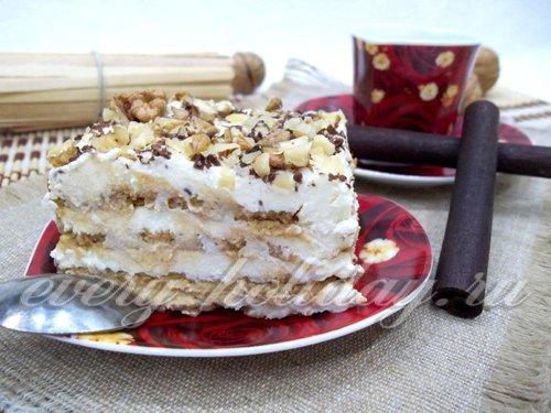 Торт из печенья с творогом простой